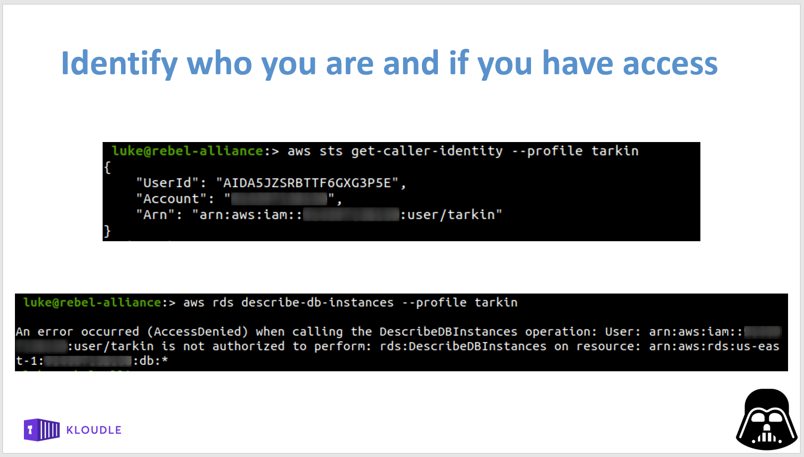 AWS STS whoami and RDS enum