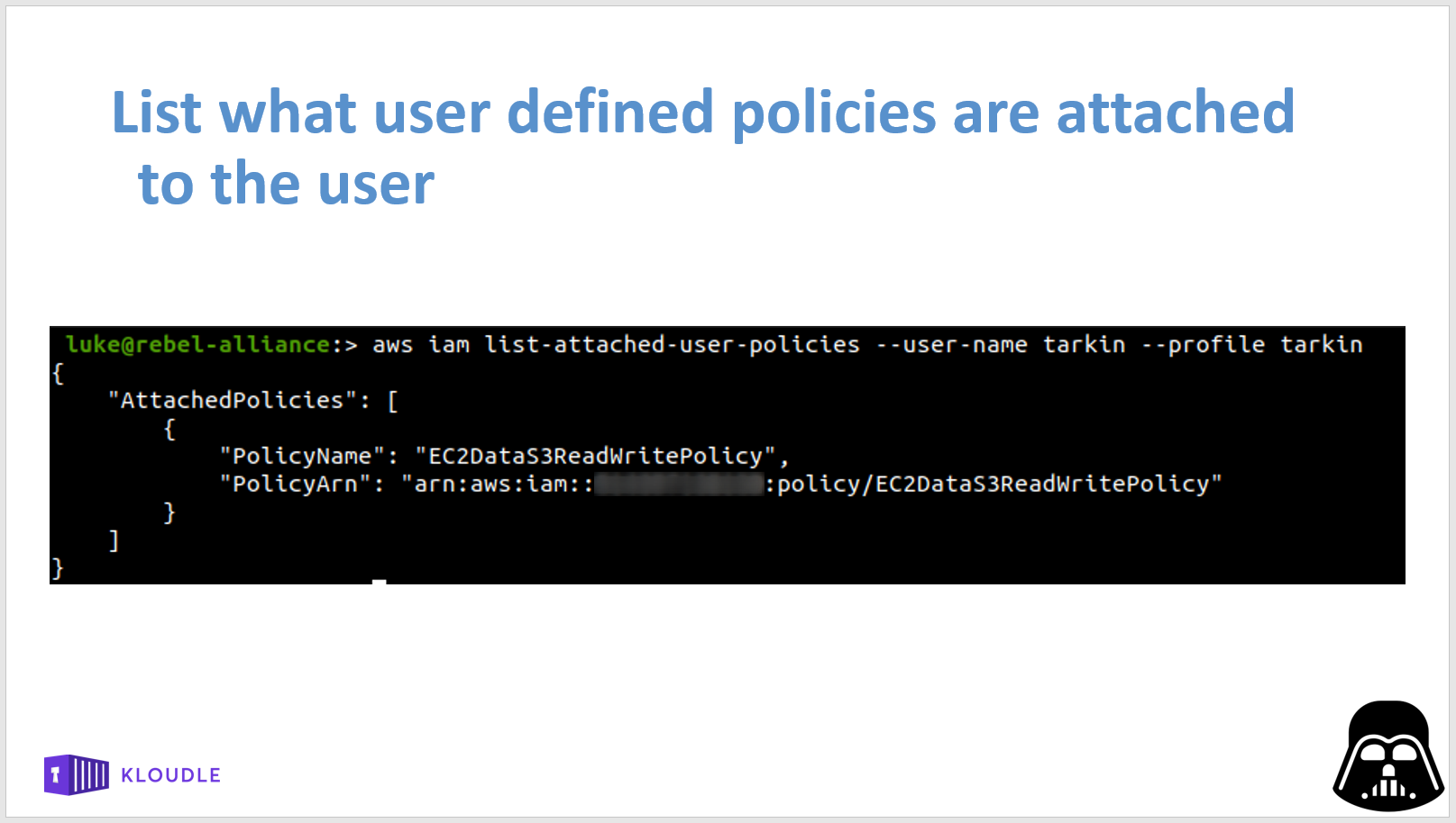 List user defined policies attached