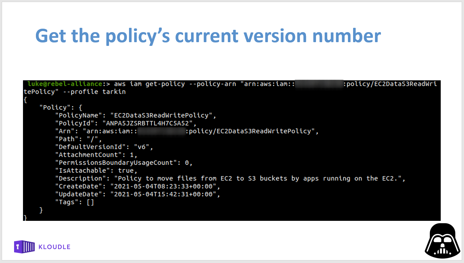 Get current version of policy