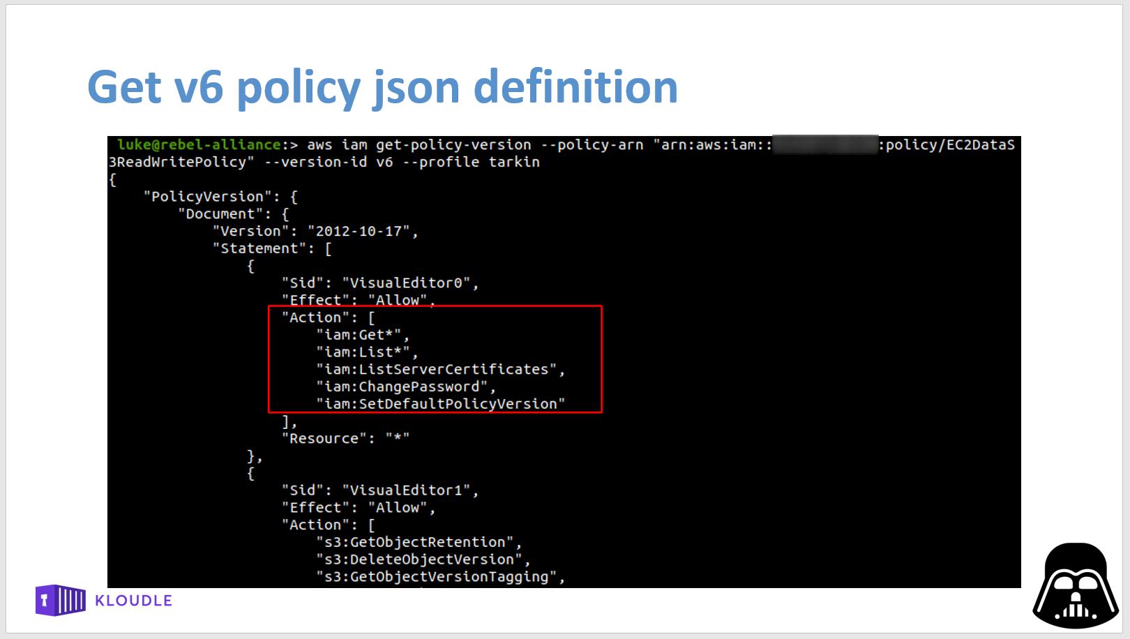 Get version json definition