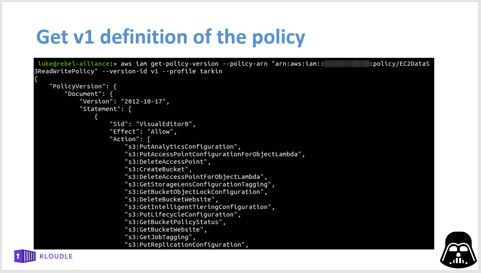 Get v1 definition of the policy