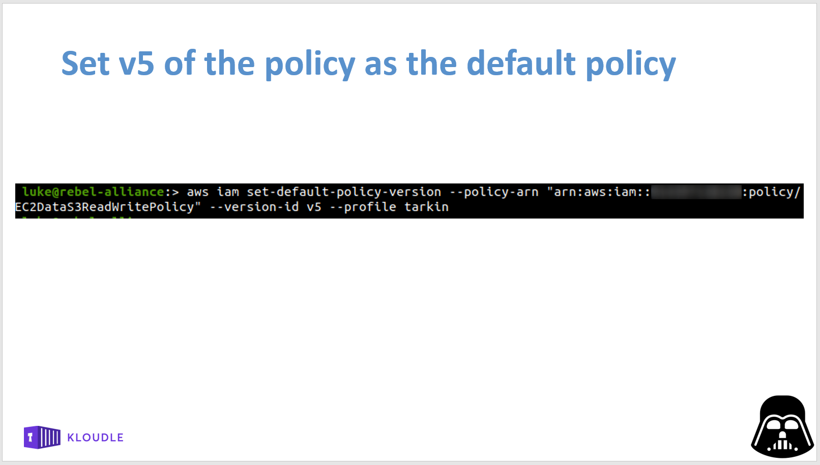 Set a different policy version as default