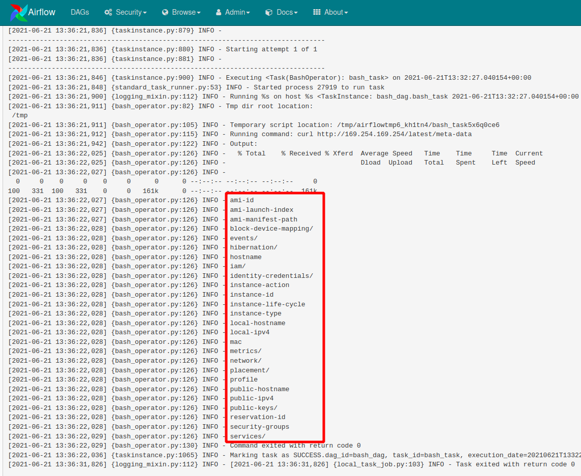 view DAG log information