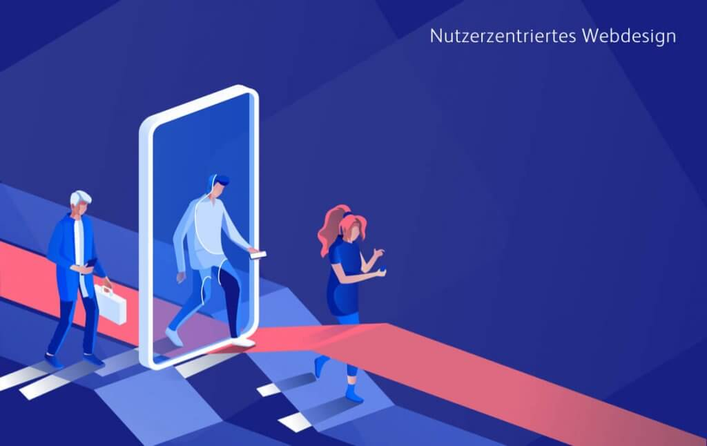 Website-Besucher laufen bildlich durch den Bildschirm eines Smartphones, welches dafür steht, dass das Webdesign einer Unternehmenswebsite nutzerzentriert sein sollte.