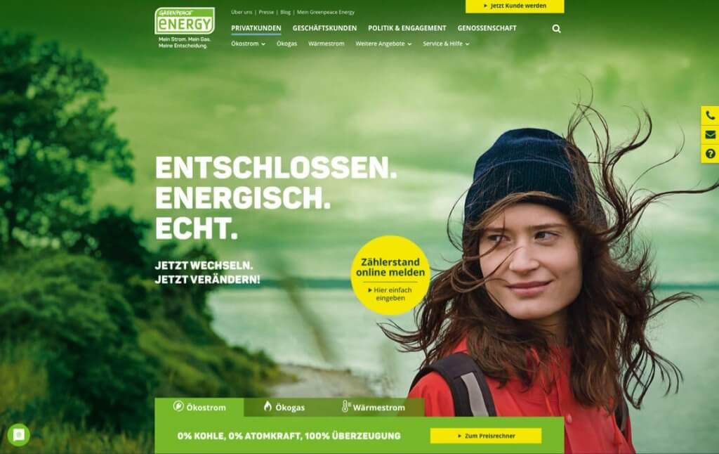Screenshot der Website von Greenpeace Energy