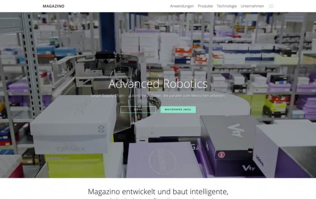 Screenshot der Unternehmenswebsite von Magazino