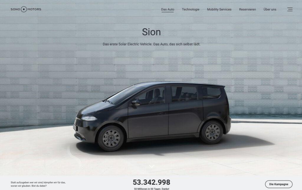 Screenshot der Unternehmens-Website von Sono Motors