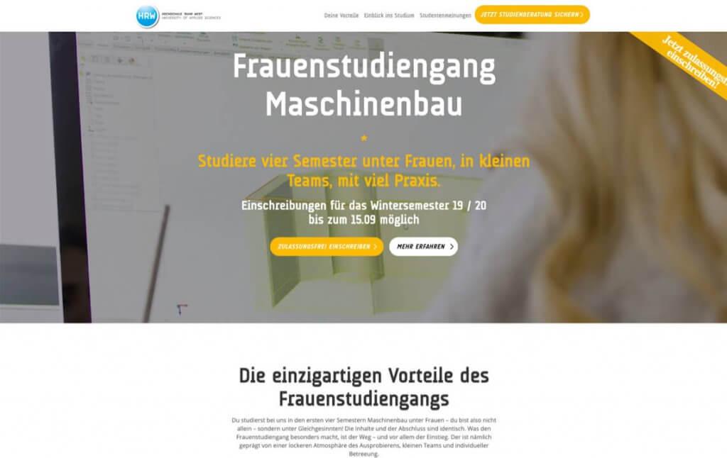 Screenshot der Website von Frauen studieren Maschinenbau