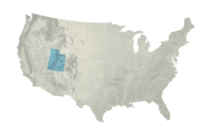 A topographic map of the United States with the state of Utah highlighted.
