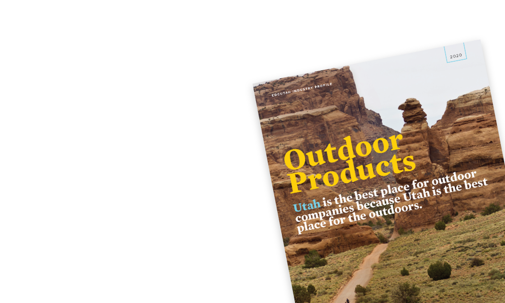 A mockup of EDCUtah's Outdoor Products research profile.
