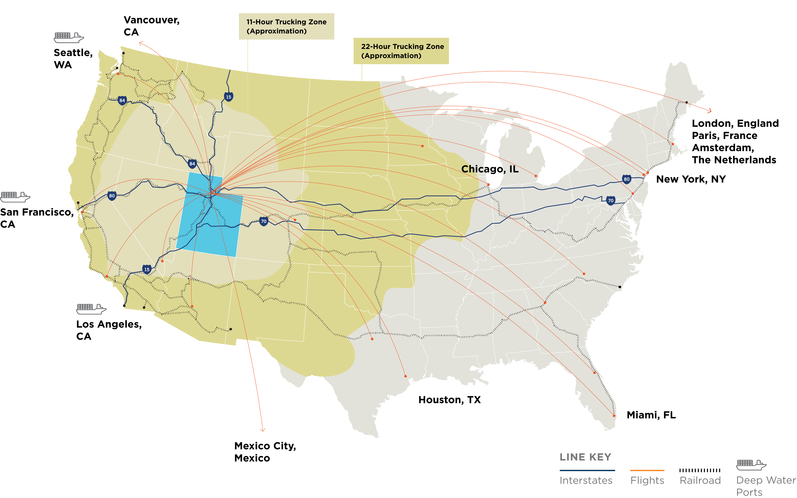 A map of the United States showing times to reach the state of Utah.