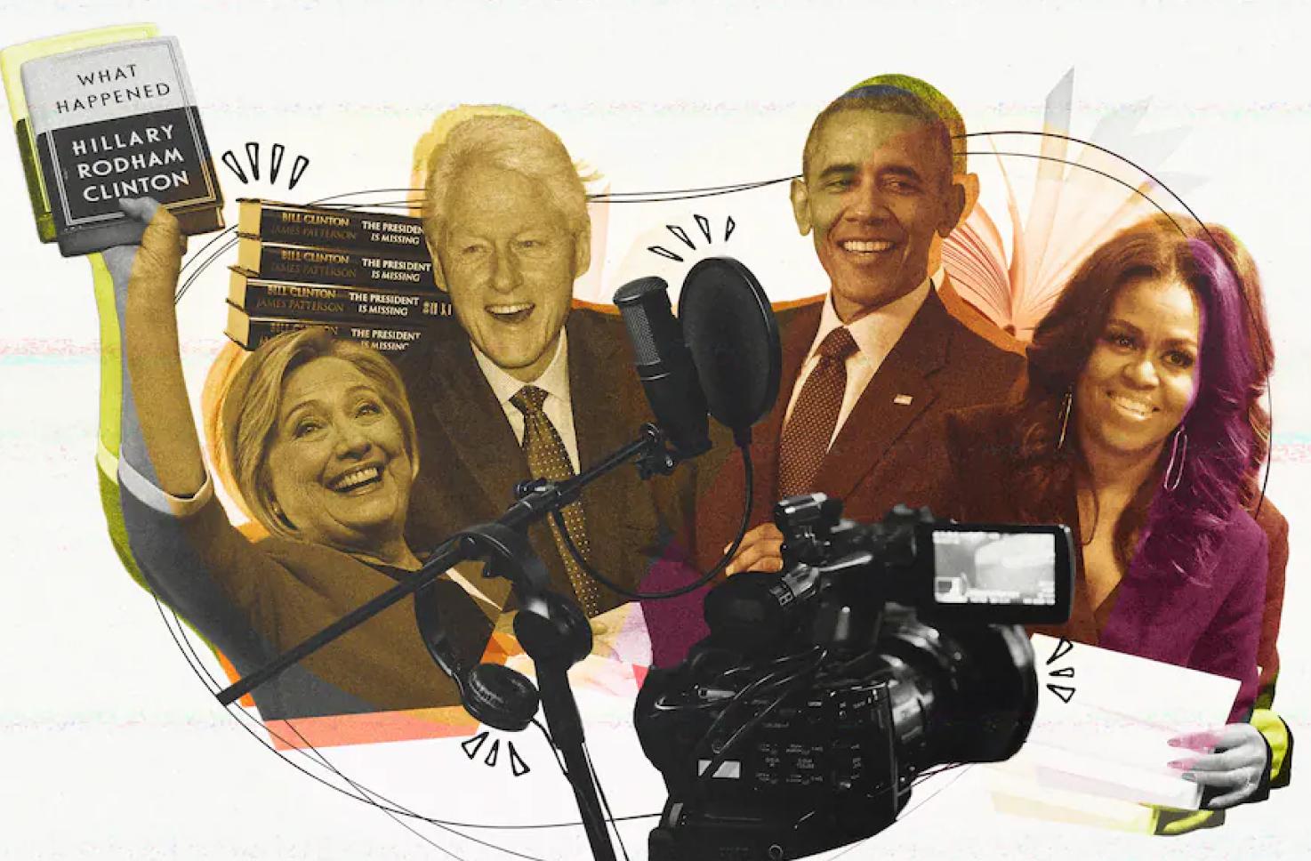 Image of Hillary Clinton, Bill Clinton, Barack Obama an Michelle Obama