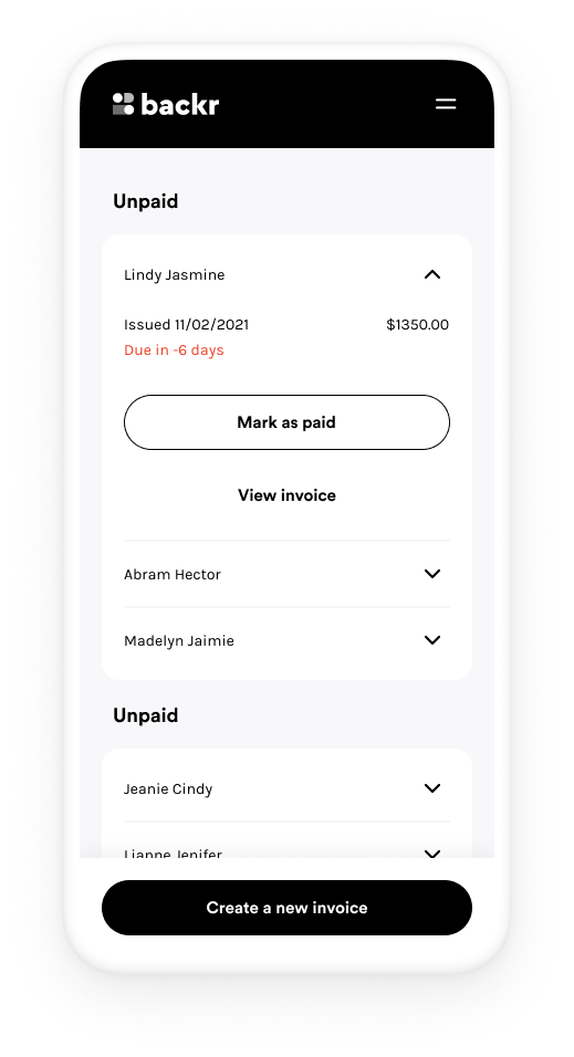 A mobile phone showing the Backr Invoicing feature
