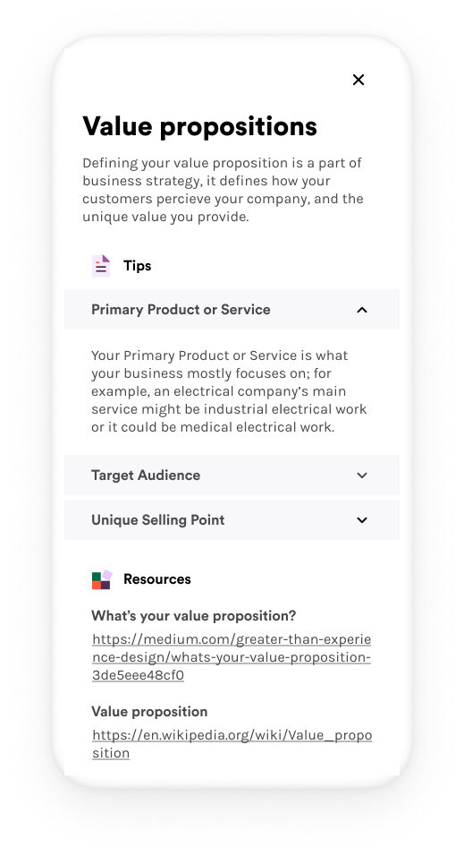 Image of a phone describing a few things to consider when writing a value proposition such as: Your pimary product or service, Target audience, and Unique selling point.