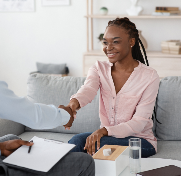 A therapist meeting a client