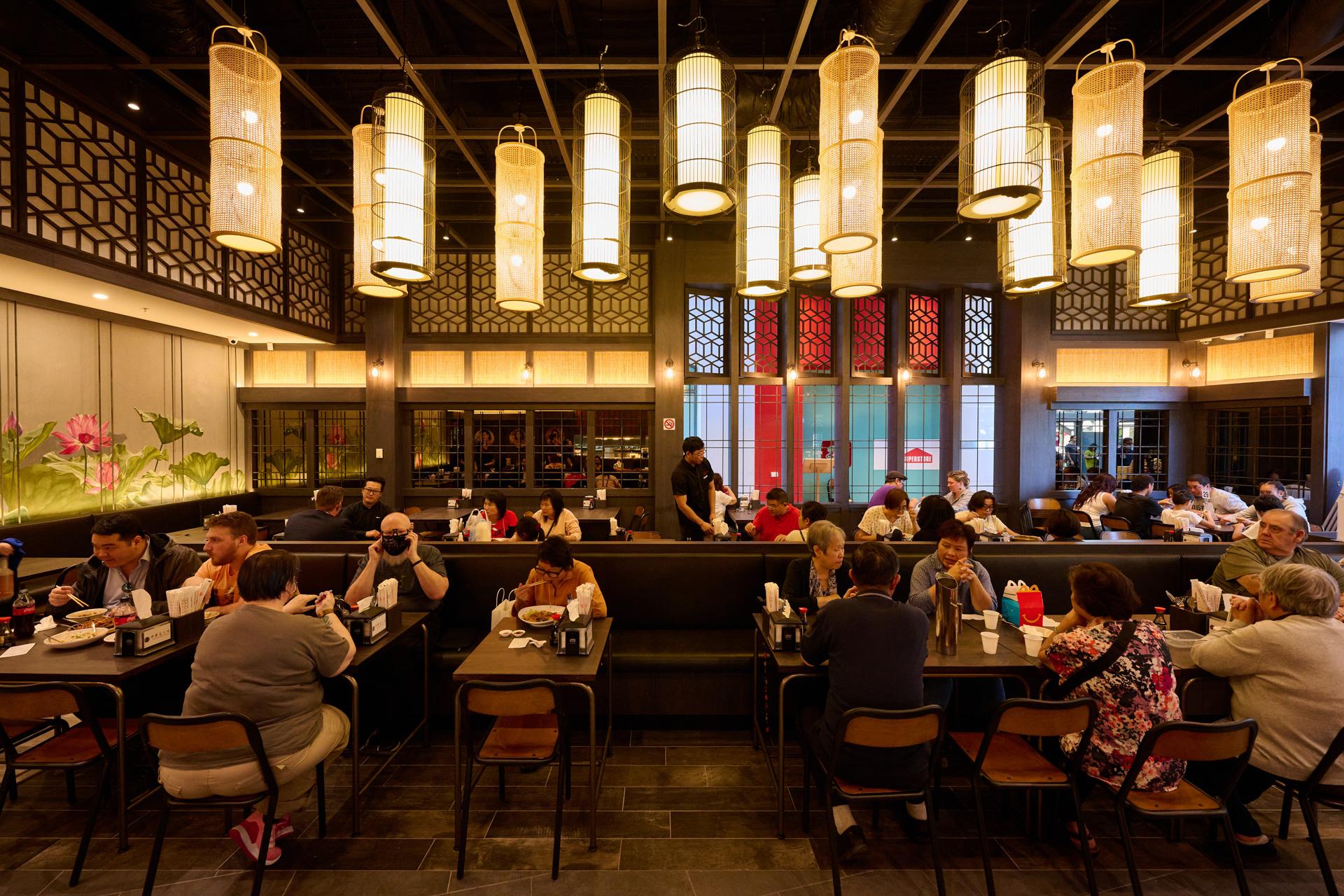 Beautiful interior of Dumplings Plus Restaurant.