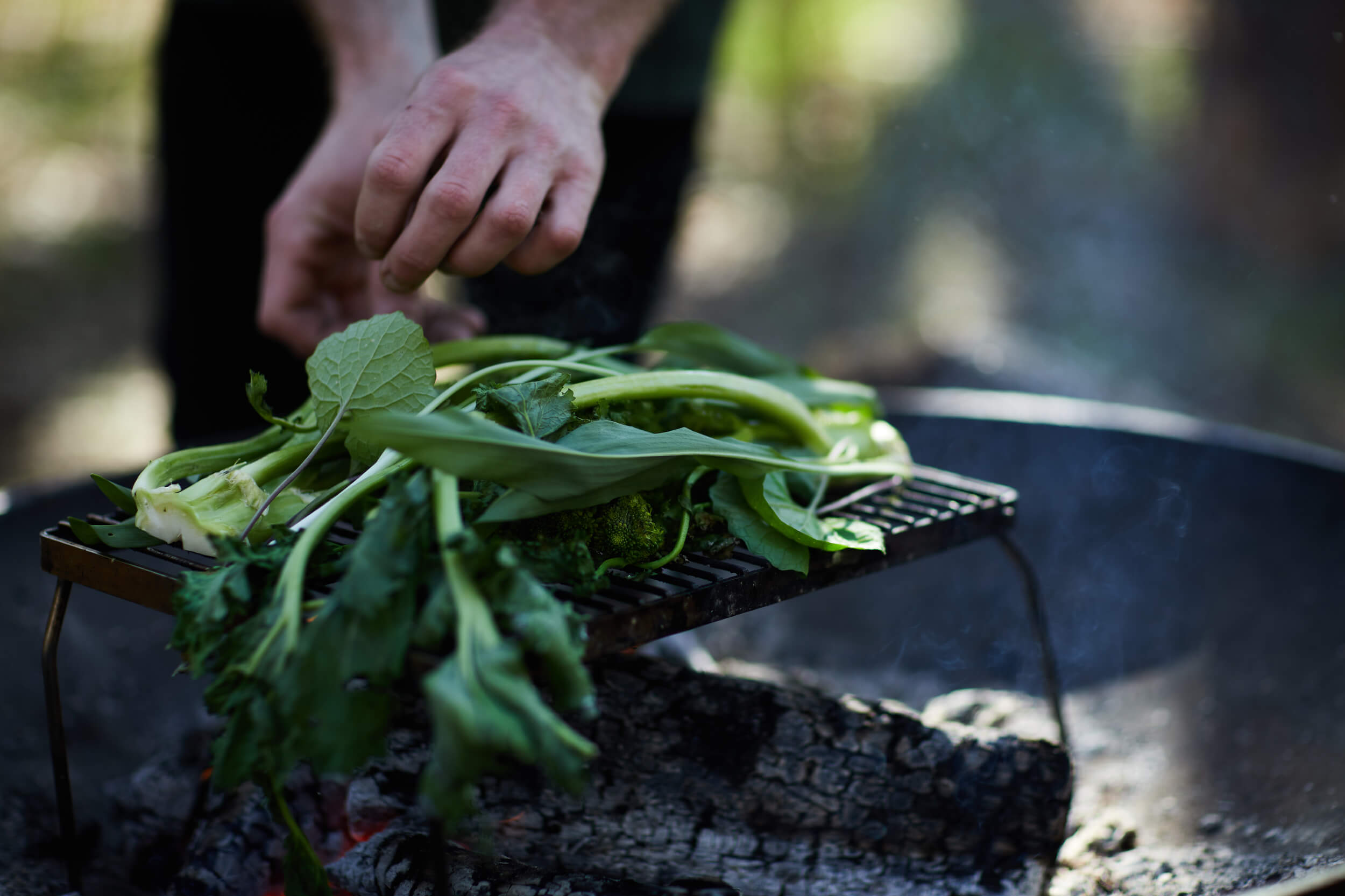 Grilled greens on fire