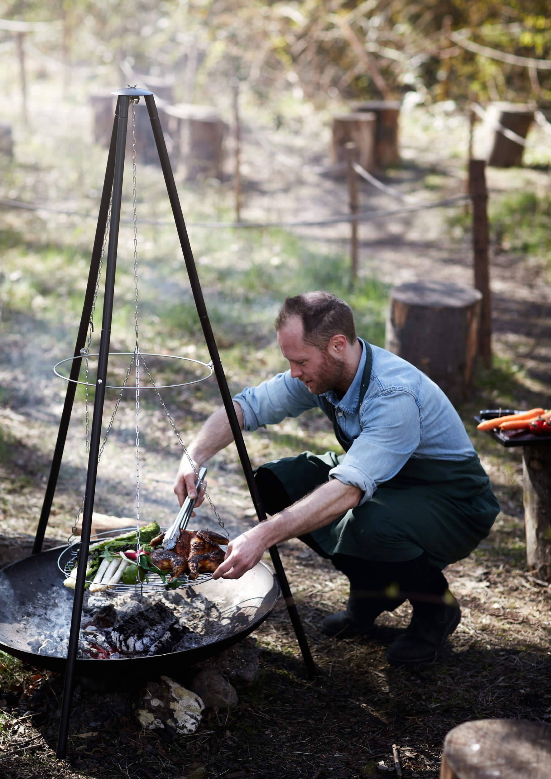 Chef cooking over fire