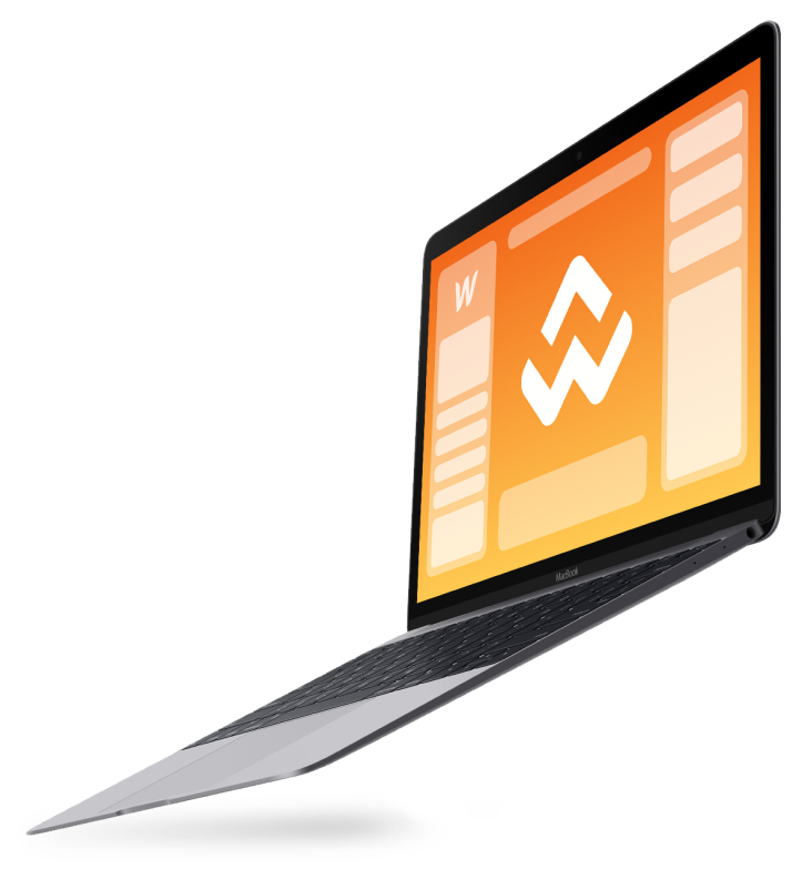 side view of opening macbook