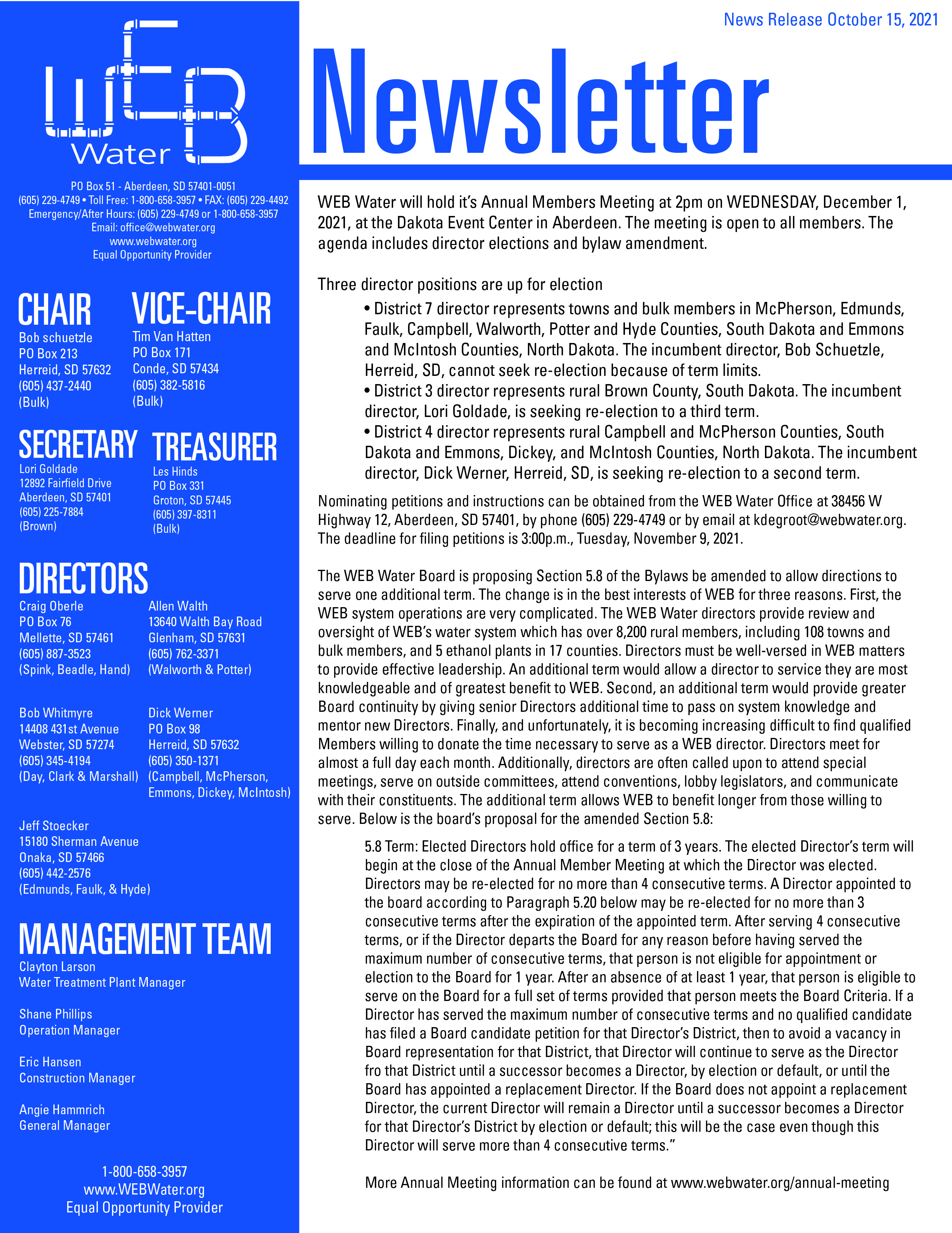 News Release October 15, 2021