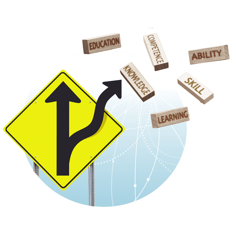 a road sign pointing to two paths and the following words: education, competence, knowledge, ability, skill, learning