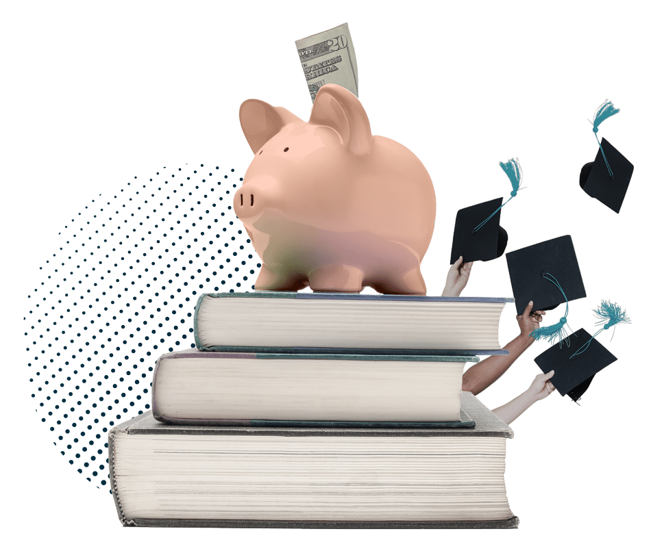 piggy bank sitting on stacked college books