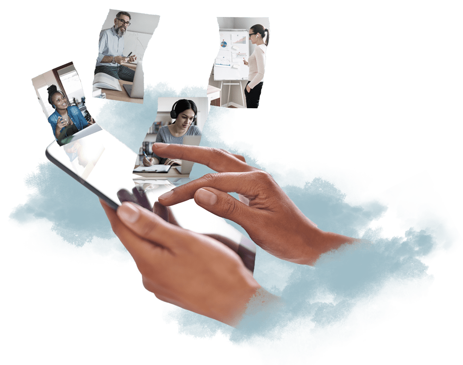 collage of a person holding a mobile device communicating with fellow students and faculty