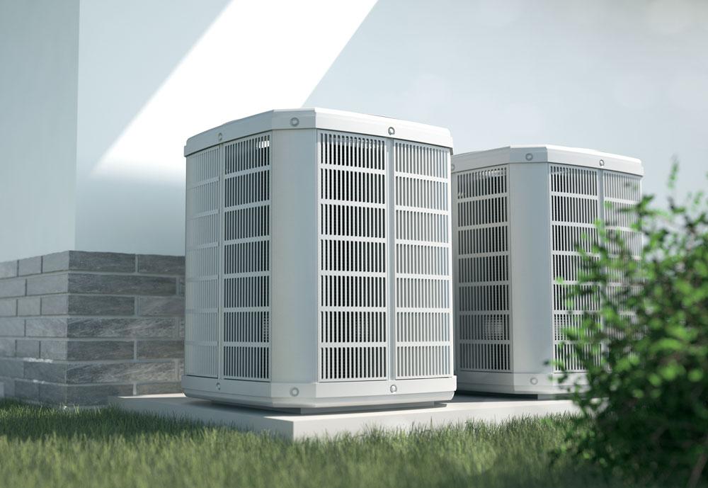 Air heat pump at a house