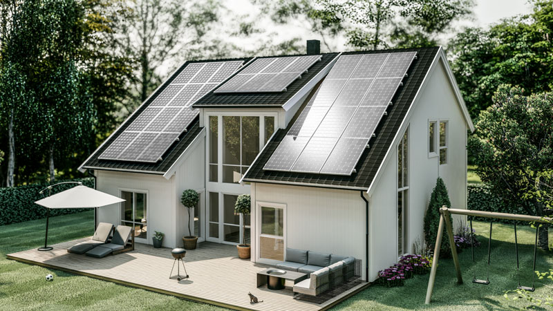 House powered by green energy surrounded by woods