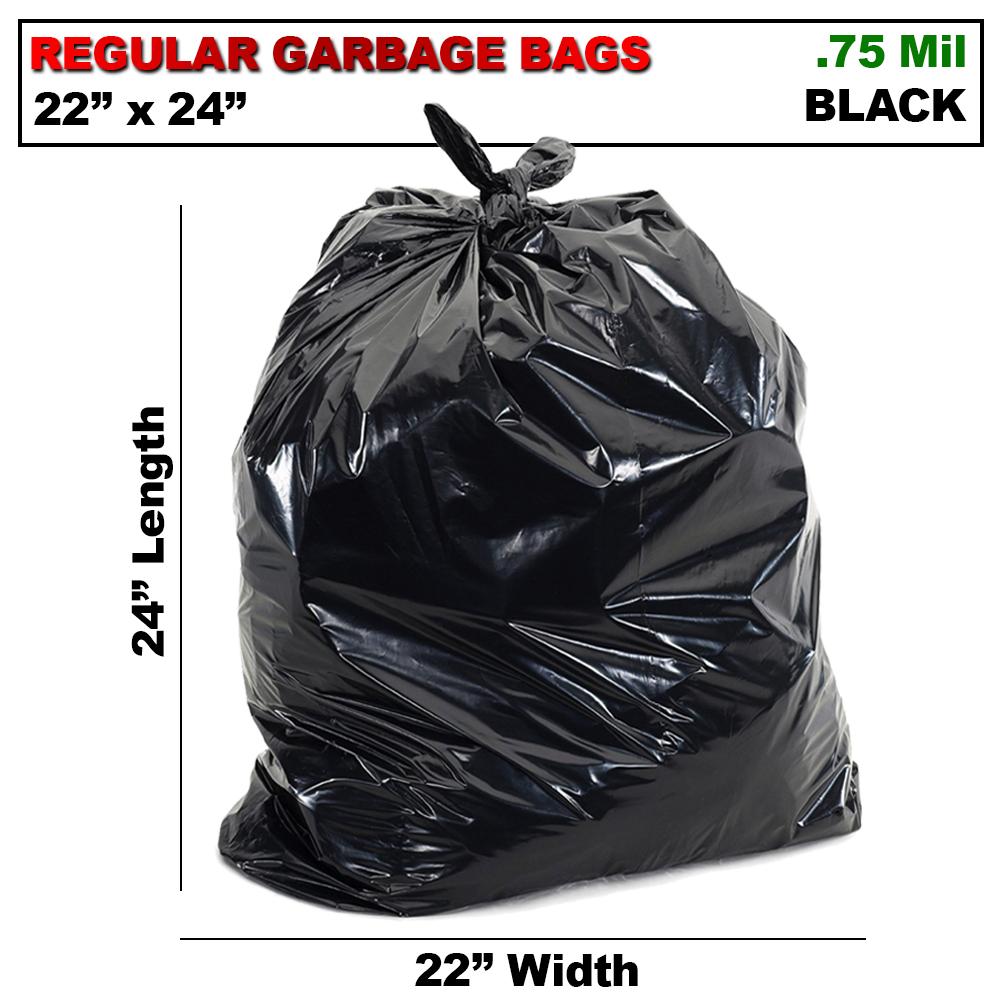 22 X 24  REGULAR BLACK GARBAGE BAGS (500/CS)
