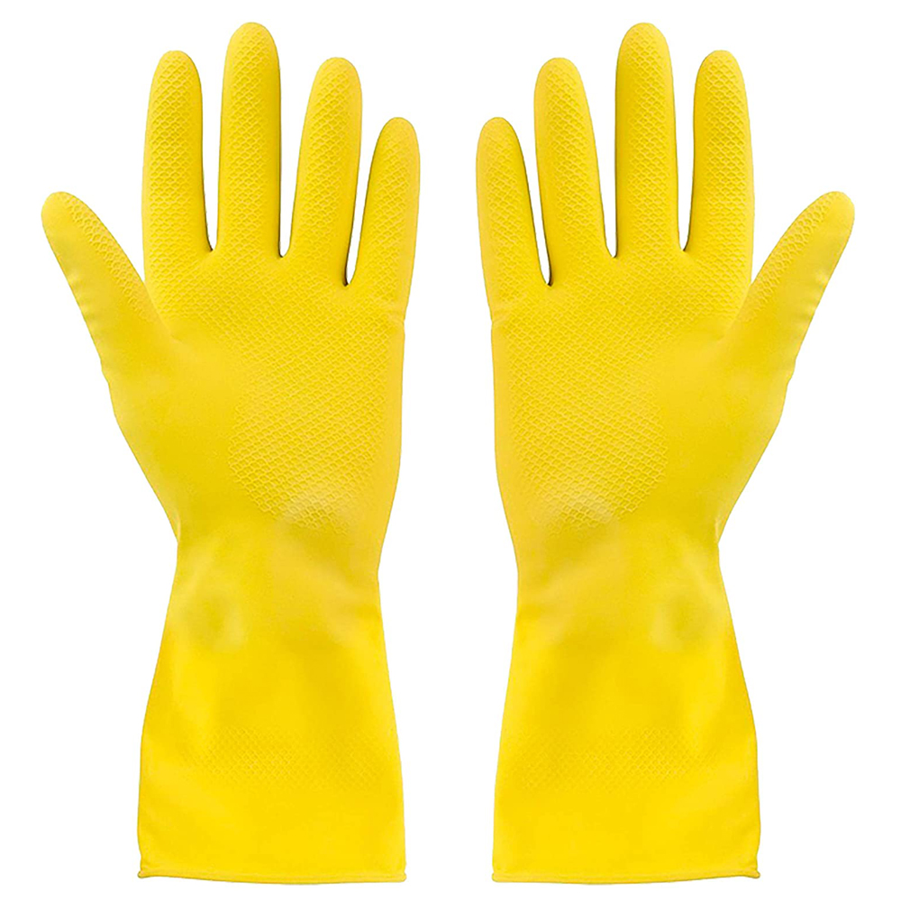 YELLOW LATEX HOUSEHOLD GLOVES - LARGE