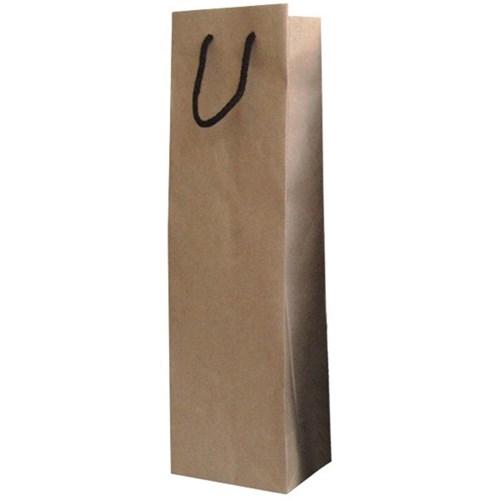 8 X 3 1/4 X 12.5 2 KRAFT PAPER BOTTLE WINE BAG W/BLACK RIBBON HANDLE