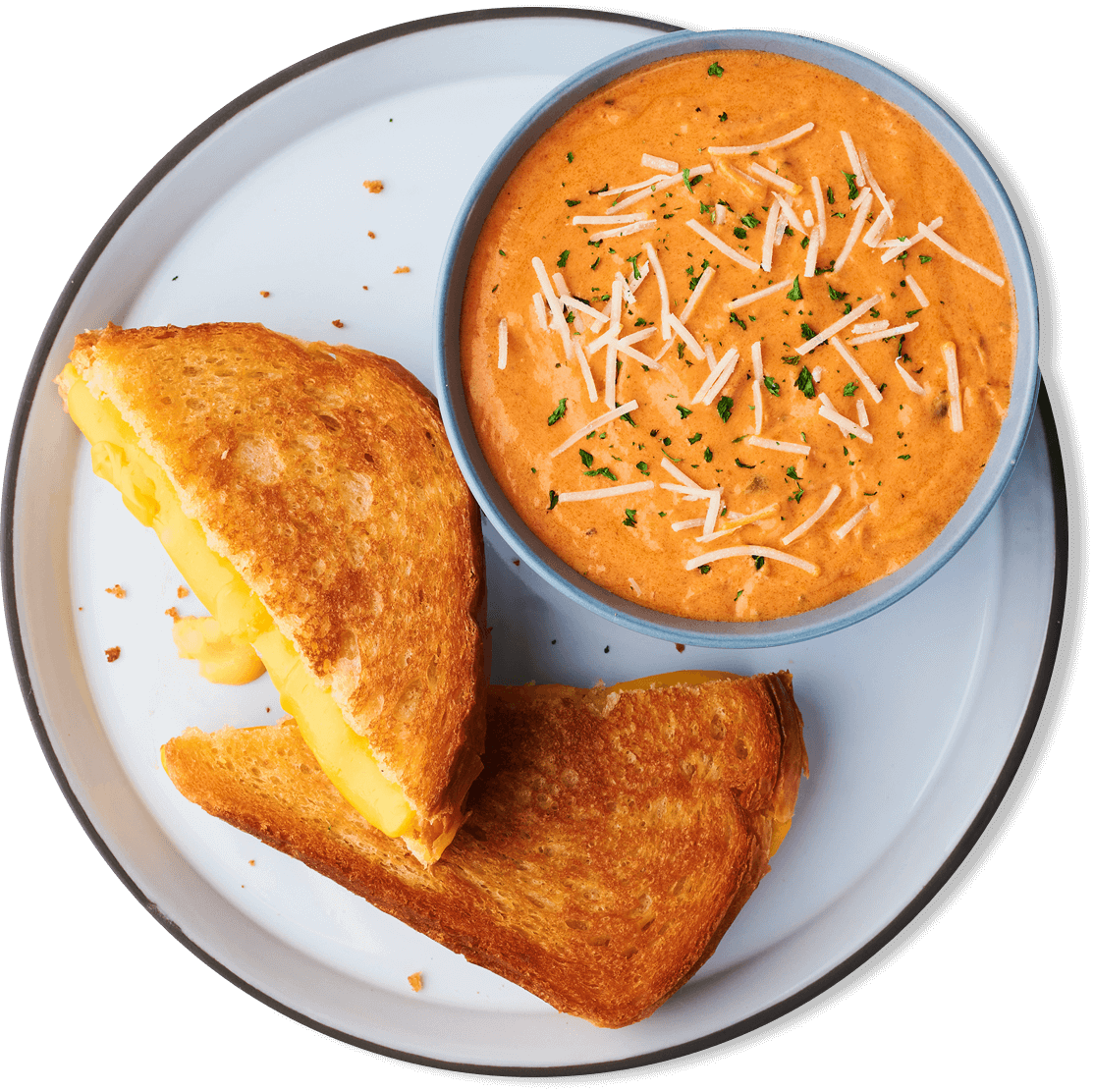 The Usual served with a cup of creamy tomato soup, a chocolate chip cookie & choice of drink