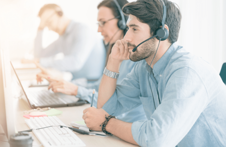 Employees in a call center.