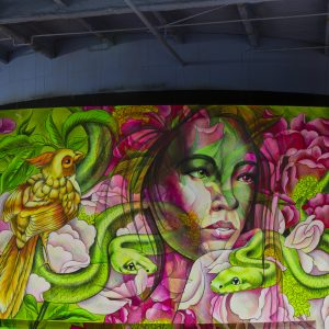 Mural of a woman surrounded by green snakes and flowers