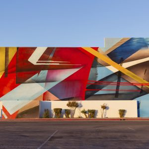 Large abstract mural on the outside of a building