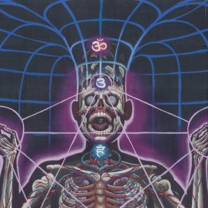 Mural of a skeleton with chakra points and aura