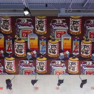 Graffiti-style Mural of cans and money