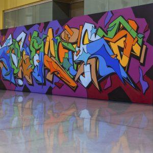 Colorful graffiti-style mural