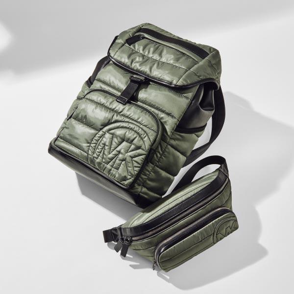 green nylon michael kors backpack