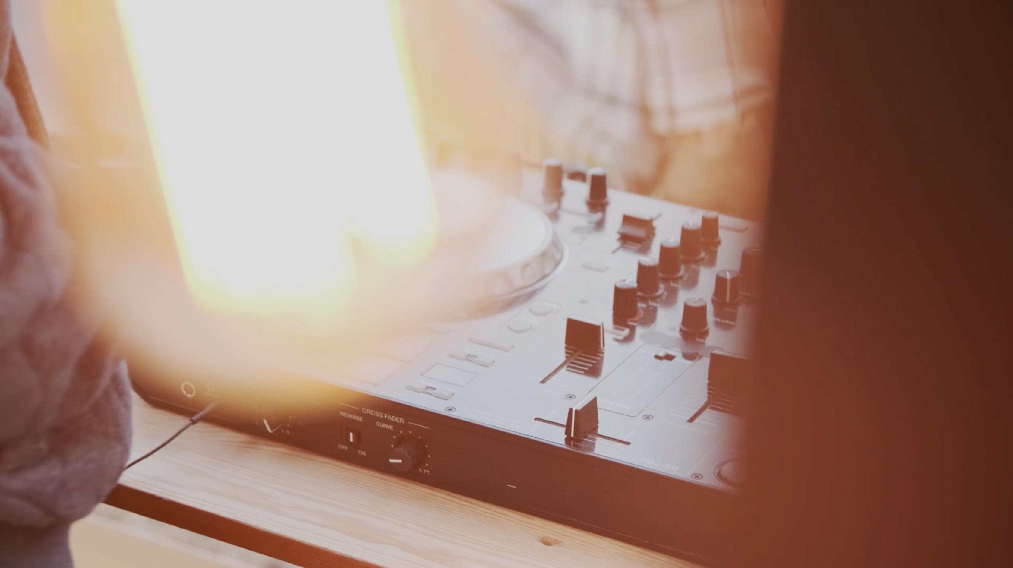 Close up of DJ turntable