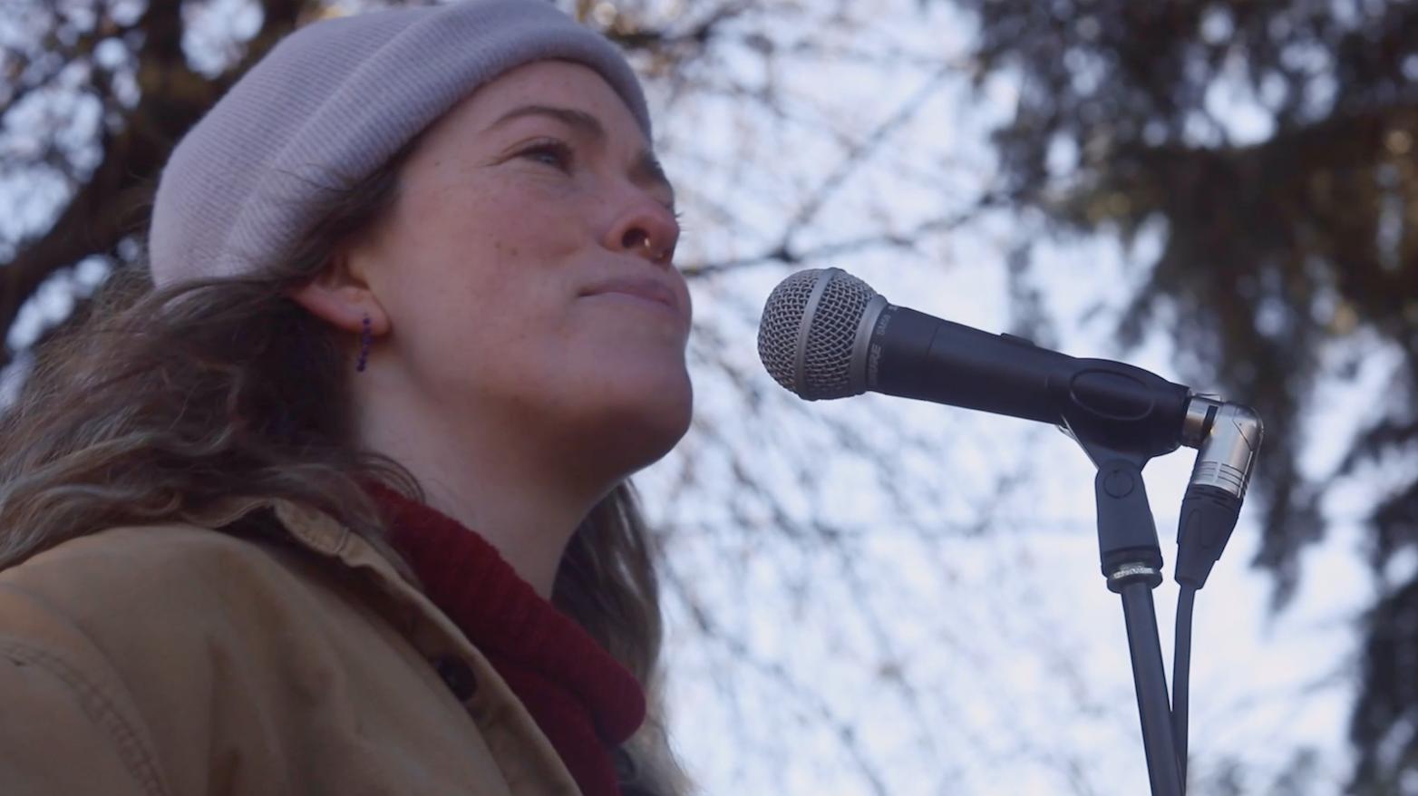 Close up of female musician singing