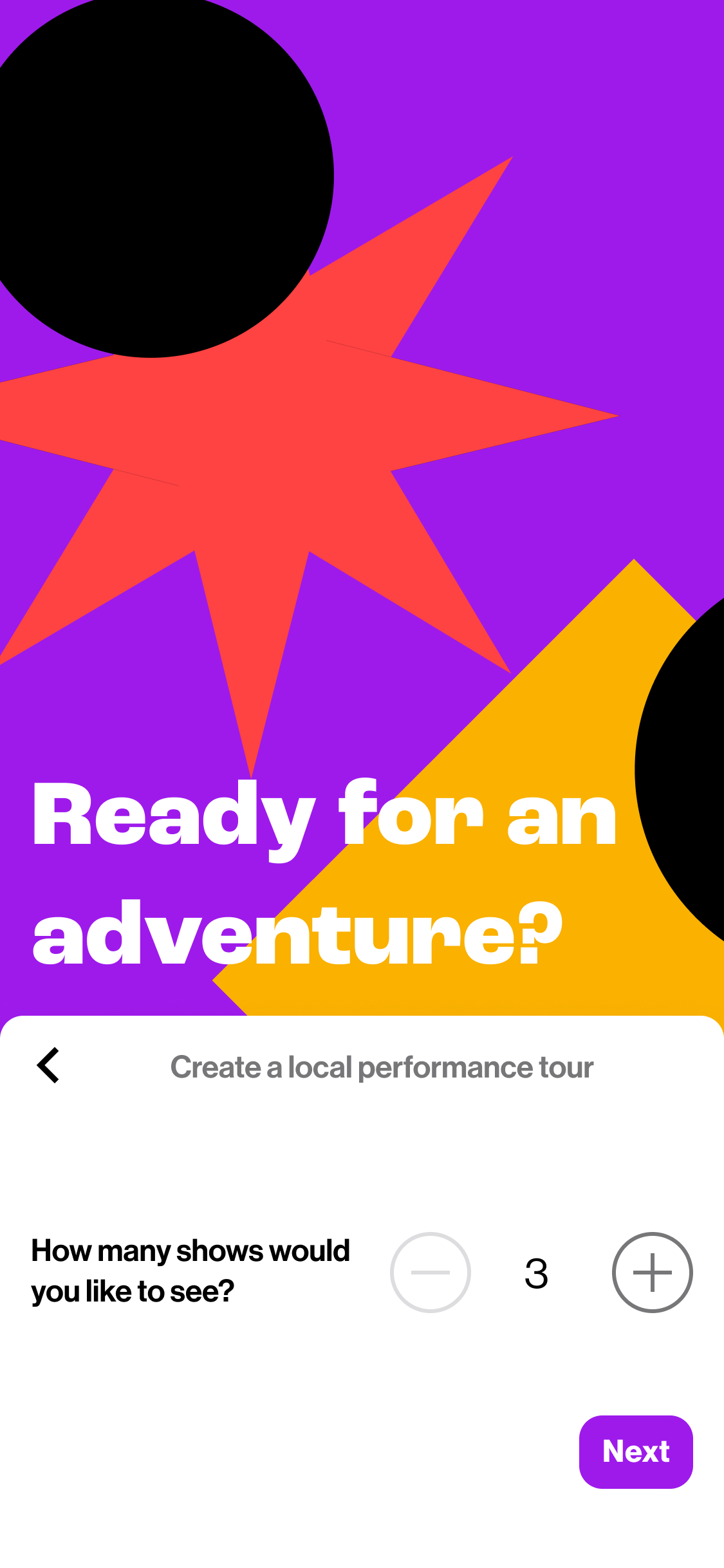 Interface, selecting how many shows you'd like to see.