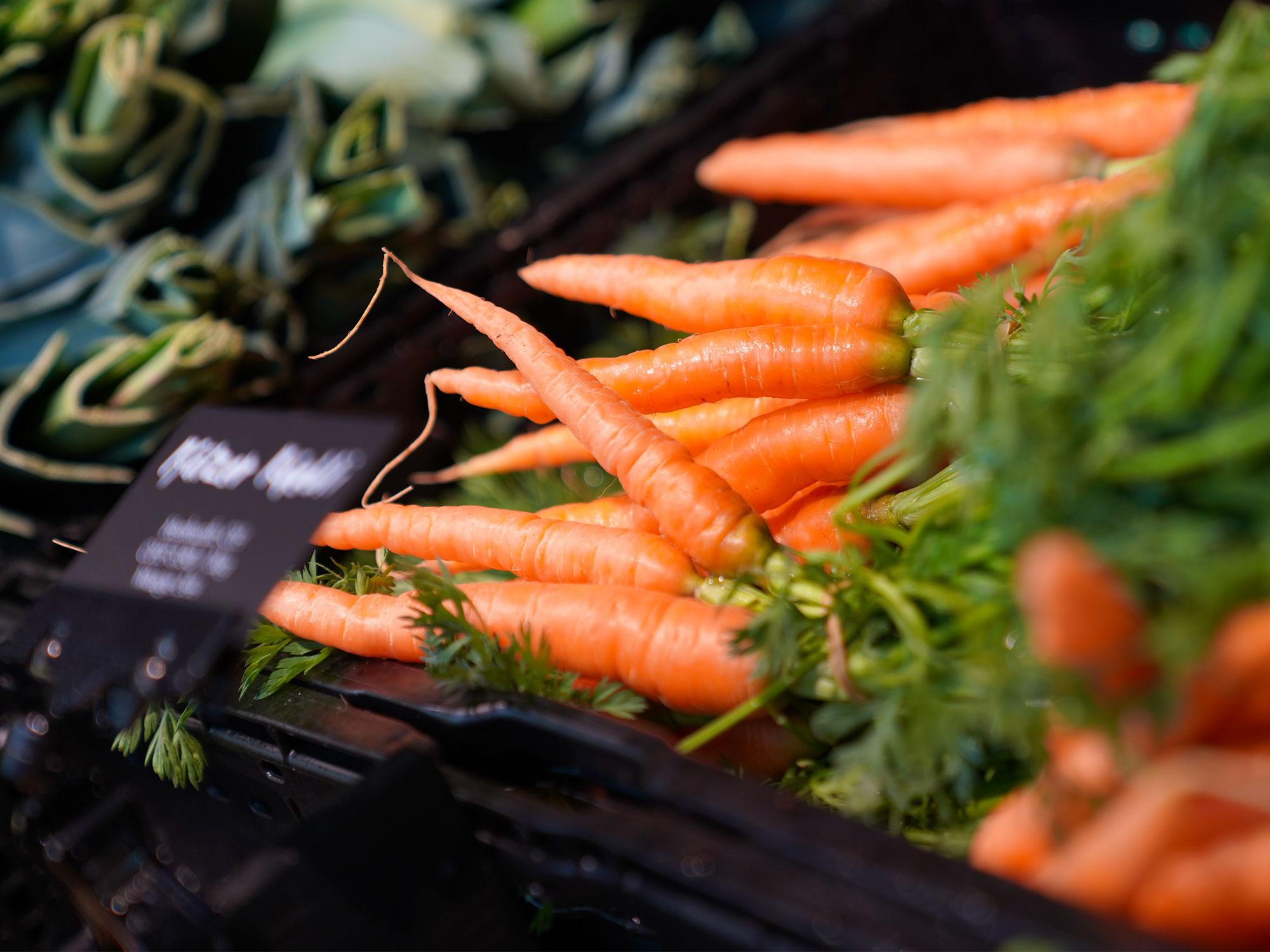 Frische Produkte, hier frische Karotten aus dem Seeland