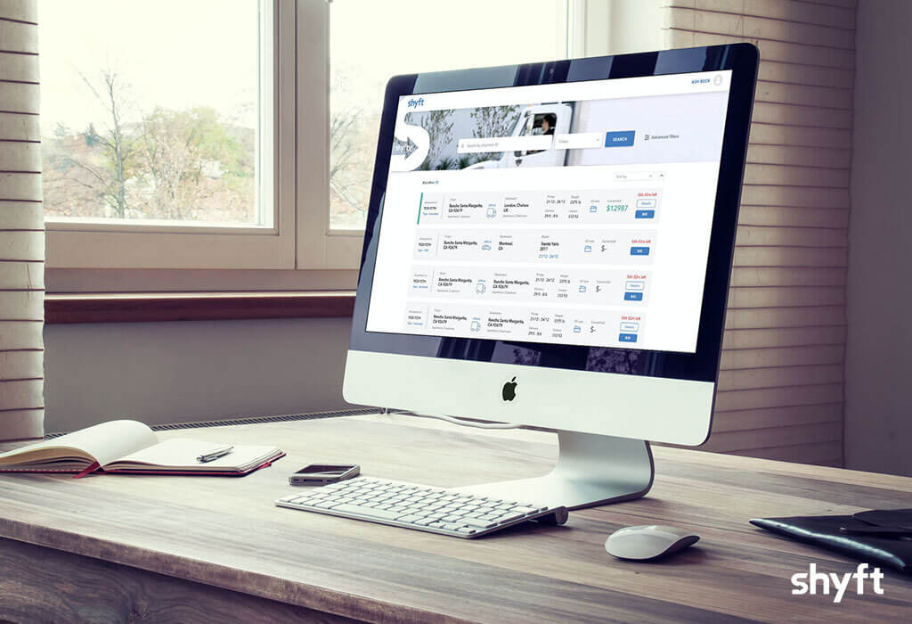 Desktop computer with Shyft application