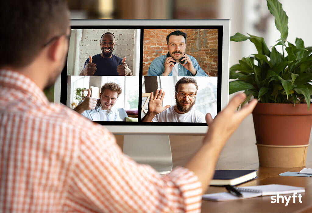 Remote workers during a zoom video call discussing paperless moving technology
