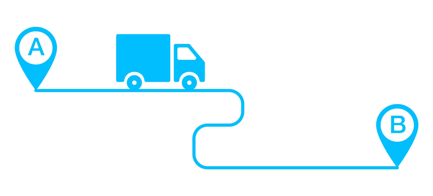 A drawing of a truck moving from place A to place B
