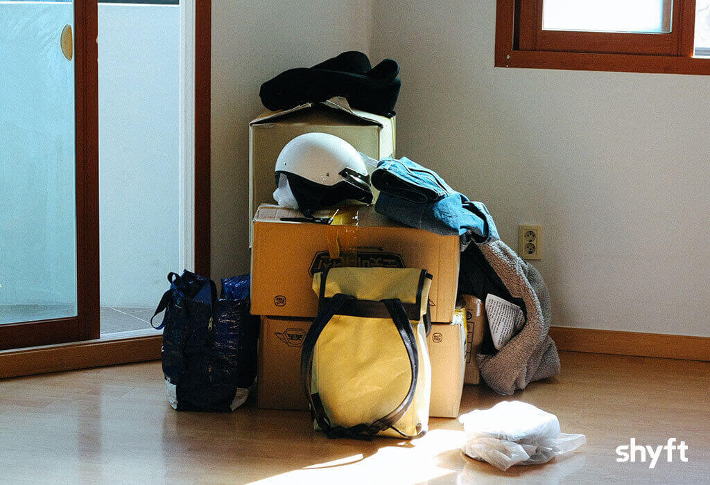 Moving boxes and backpacks ready for relocation