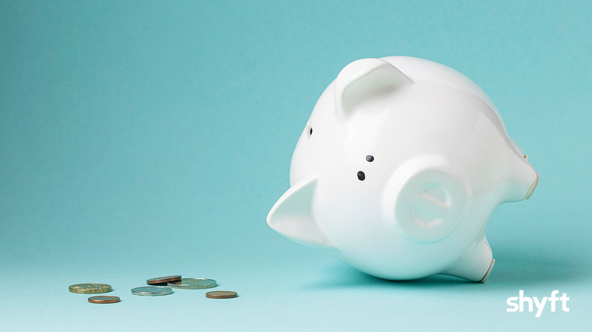 Losing money from a white piggy bank