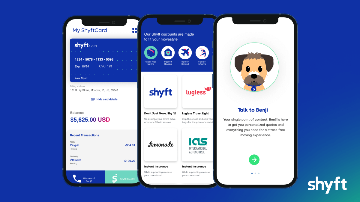 the Shyft Card app on mobiles with AI virtual assistant Benji in the forefront